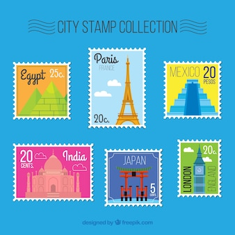 평면 스타일에서 도시 우표의 세트
