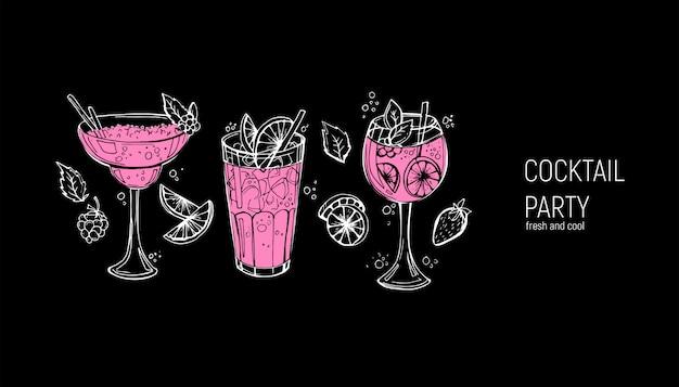 고전적인 알콜 칵테일 세트입니다.