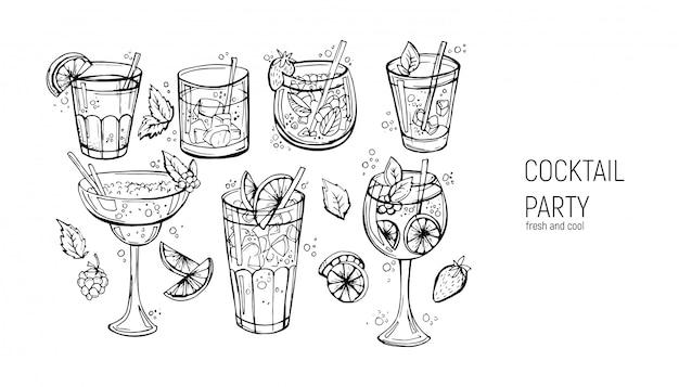 Набор классических алкогольных коктейлей.
