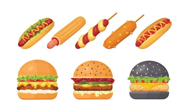 비행 재료와 핫도그와 함께 고전적인 햄버거 세트. 햄버거와 핫도그 아이콘. 패스트 푸드 세트.