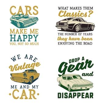 Набор иллюстраций цитат классических автомобилей