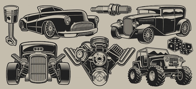 Набор классических автомобилей и частей иллюстраций в винтажном стиле, изолированные на светлом фоне.
