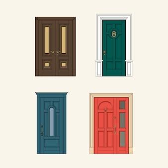 古典的なドアのセット