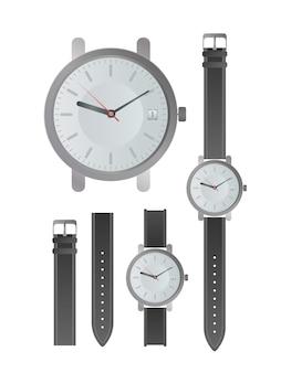 클래식 남성용 시계 세트입니다. 가죽 스트랩이 달린 손목시계. 외딴. 현실적인 벡터입니다.