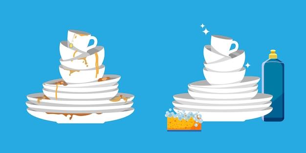 Набор чистой и грязной посуды. белые кухонные бытовые столовые приборы до и после стирки.