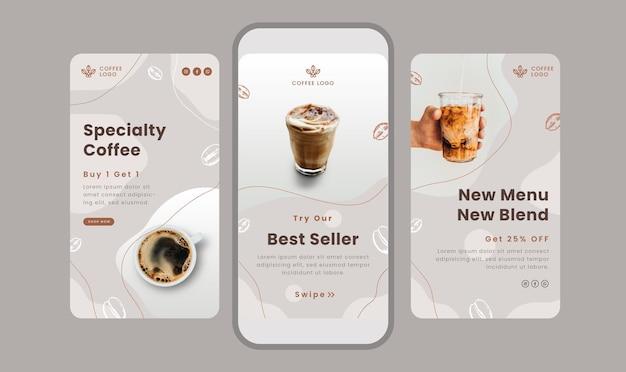ソーシャルメディアのコーヒーをテーマにしたクリーンストーリーバナーのセット。