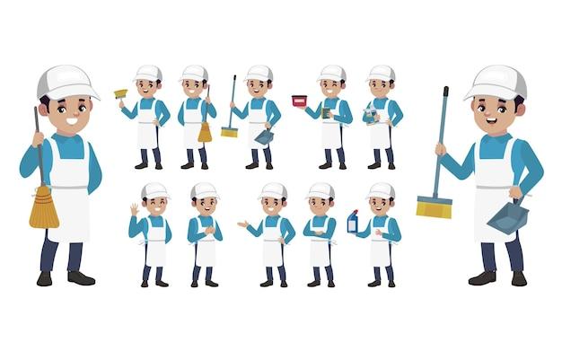 Набор уборщика с разными позами