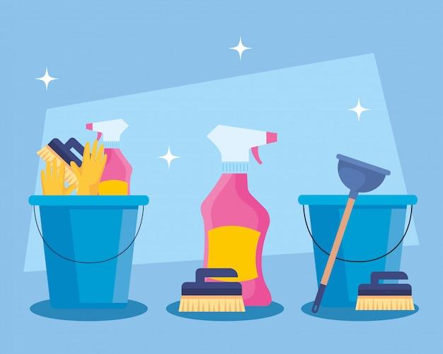 Набор услуг по уборке в ведрах с чистящими средствами дизайна иллюстрации