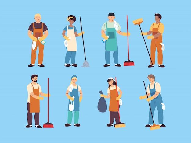 Набор уборщиков, профессионального уборщика, домашнего уборщика и уборщика оборудования