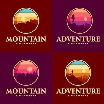 山のロゴデザインと登る冒険のセット