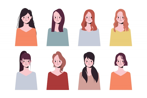 클립 아트 여자 컬렉션 아이콘 문자 얼굴 차이 머리 스타일의 집합입니다.