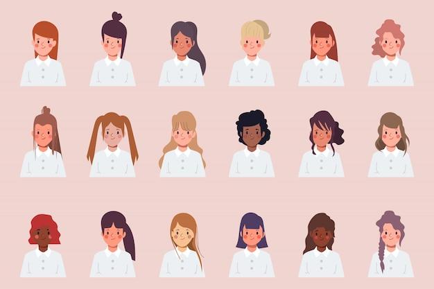 클립 아트 여자 아이콘 문자 얼굴 차이 머리 스타일의 집합입니다.
