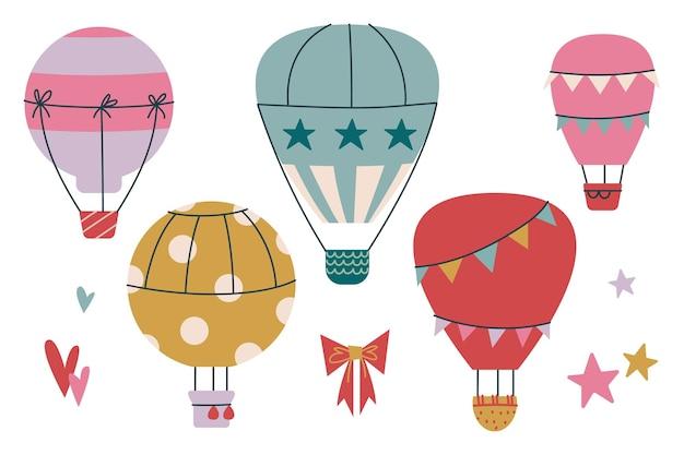 クリップアートのセット雲と空の熱気球。子供のためのベクトル印刷。かわいい空の飛行。分離された子供のアートクリップアート。幼児のための保育園または印刷物のためのミニマリズム幼児