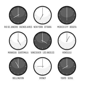 設定されたすべてのタイムゾーンの時計のセット。西半球の9つのタイムゾーン。白い背景の上の孤立したイラスト