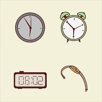 時計手描きイラストのセット
