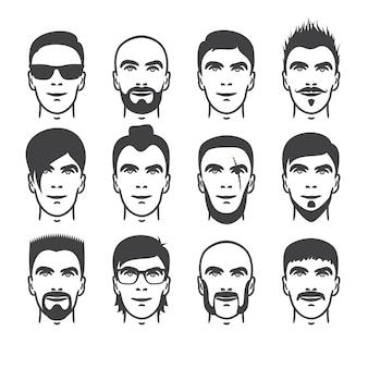 가까이 다른 머리, 수염 및 콧수염 스타일 남자 초상화의 집합