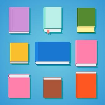 Набор закрытых книг для чтения и учебы в школе, университете. плоские векторные иллюстрации шаржа. объекты, изолированные на белом фоне.