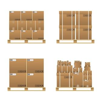 닫힌 갈색 판지 배달 상자 세트