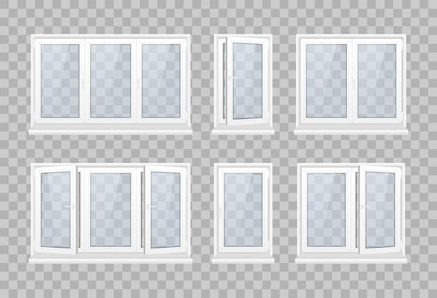 Комплект закрытого окна с прозрачным стеклом в белой рамке. набор реалистичных окон пвх и металлических жалюзи на прозрачном фоне. пластиковые изделия. штора-роллер. иллюстрация.