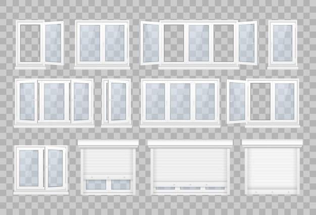 白いフレームの透明なガラスと閉じたウィンドウのセット