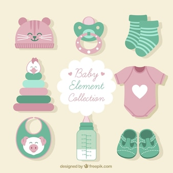 Set of clothes and baby items