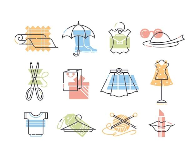 옷, 패션, 세공 아이콘의 집합입니다.