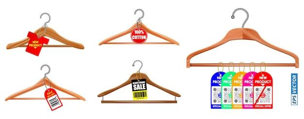 Набор вешалок для одежды или вешалок на белом фоне