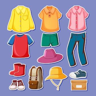分離されたアクセサリーと服のセット