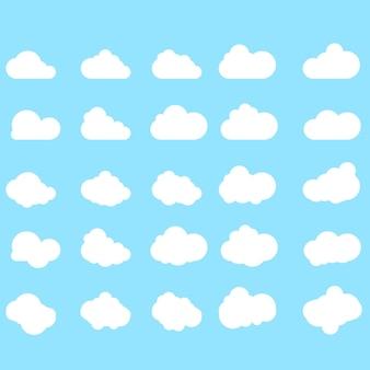 青い背景に分離されたトレンディなフラットスタイルのクラウドアイコンのセット