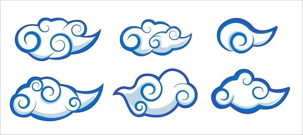 Набор облака японии и китай стиль вектор