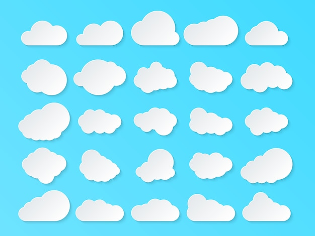 雲のセットです。青色の背景に分離された漫画雲。