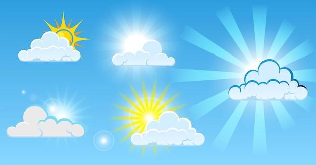Набор облаков панорама с чистым ярким солнцем или синими чистыми облаками, погодой или голубым хлопковым небом
