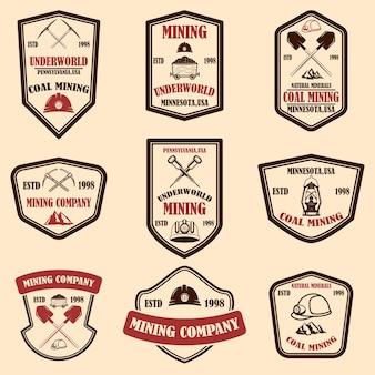Набор шаблонов эмблемы угледобывающей компании
