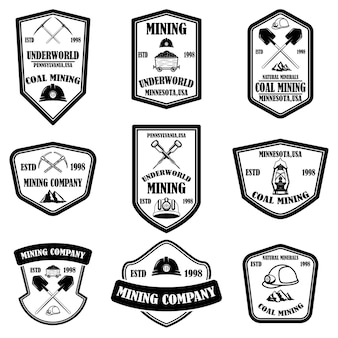 Набор шаблонов эмблемы угледобывающей компании.