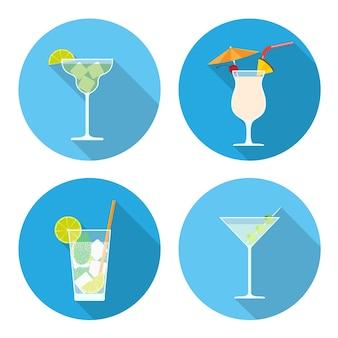 Набор иконок коктейлей, стиль иллюстрации