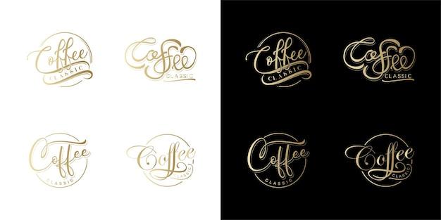 Набор кофе надписи vctor