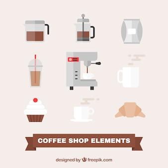 평면 디자인에 커피 액세서리 세트