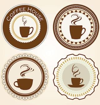 커피와 차 레이블 집합