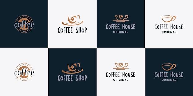 コーヒー、カフェ、コーヒーショップのロゴデザインベクトルのセット