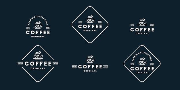 Набор кофе, кафе, дизайн логотипа кафе в стиле ретро Premium векторы