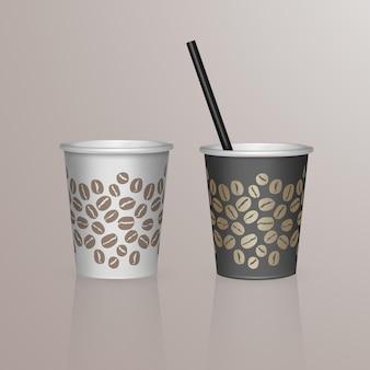 Набор кофейной чашки - черно-белые картонные кофейные чашки. шаблон одноразовой пластиковой и бумажной посуды для горячих напитков,