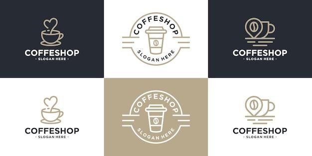 커피 컵 로고 디자인의 세트