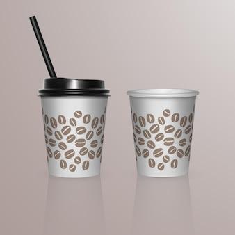 Набор кофейных чашек - белые картонные кофейные чашки. шаблон одноразовой пластиковой и бумажной посуды для горячих напитков,