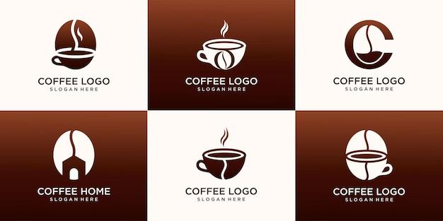 Набор логотипа кофе, логотипа дома кофе и логотипа кофейной точки .vector иллюстрации.