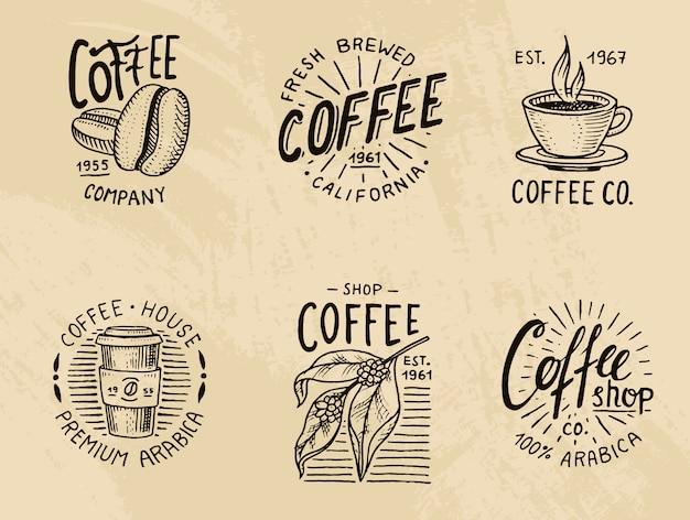Набор кофейных логотипов. современные винтажные элементы для меню магазина. иллюстрации.