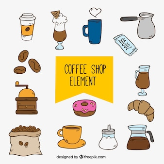 커피 숍 손으로 그린 개체 집합