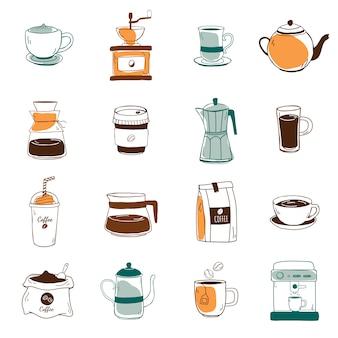 Набор векторных иконок кафе