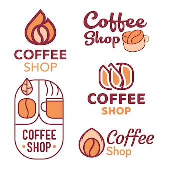 커피 숍 로고 디자인 세트