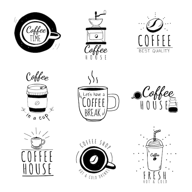 Набор векторных логотипов кафе