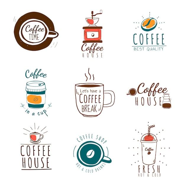 커피 숍 로고 벡터의 집합